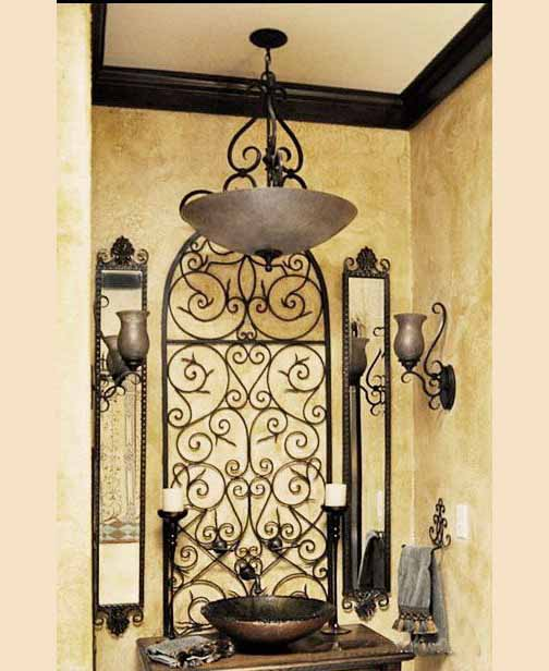 outdated brown bath with scrollwork