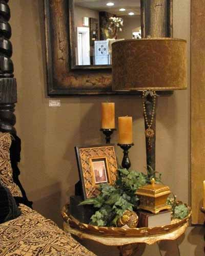 outdated brown lampshade table vignette