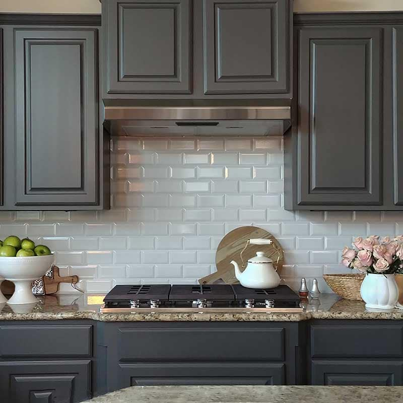 Kitchen cabinet painting in Benjamin Moore BM HC-166 Kendall Charcoal, Lakeway, Texas