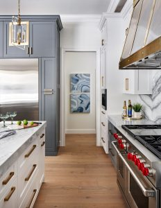 Contemporary kitchen, blue n white cabinets, zinc brass range hood, Paper Moon Painting contractor, San Antonio home and cabinet painters, ASID Texas award winner for Haven Design and Construction