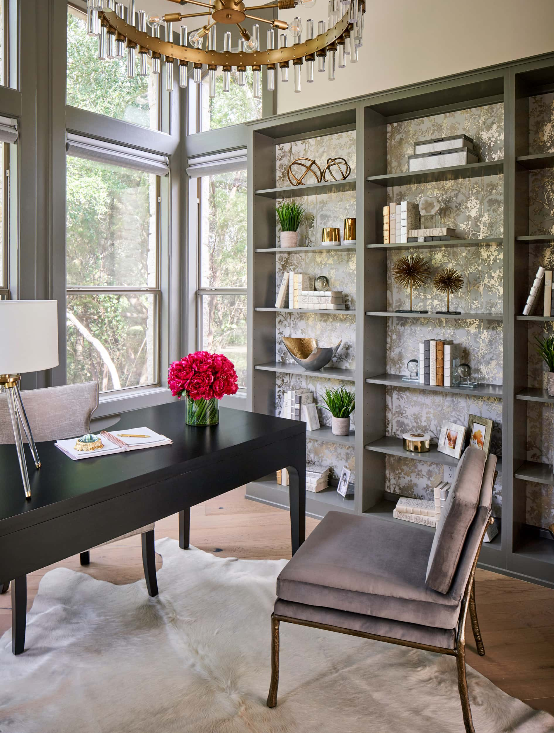 Home office study, accent bookshelves, Benjamin Moore Kendall Charcoal, Paper Moon Painting company, San Antonio house painters
