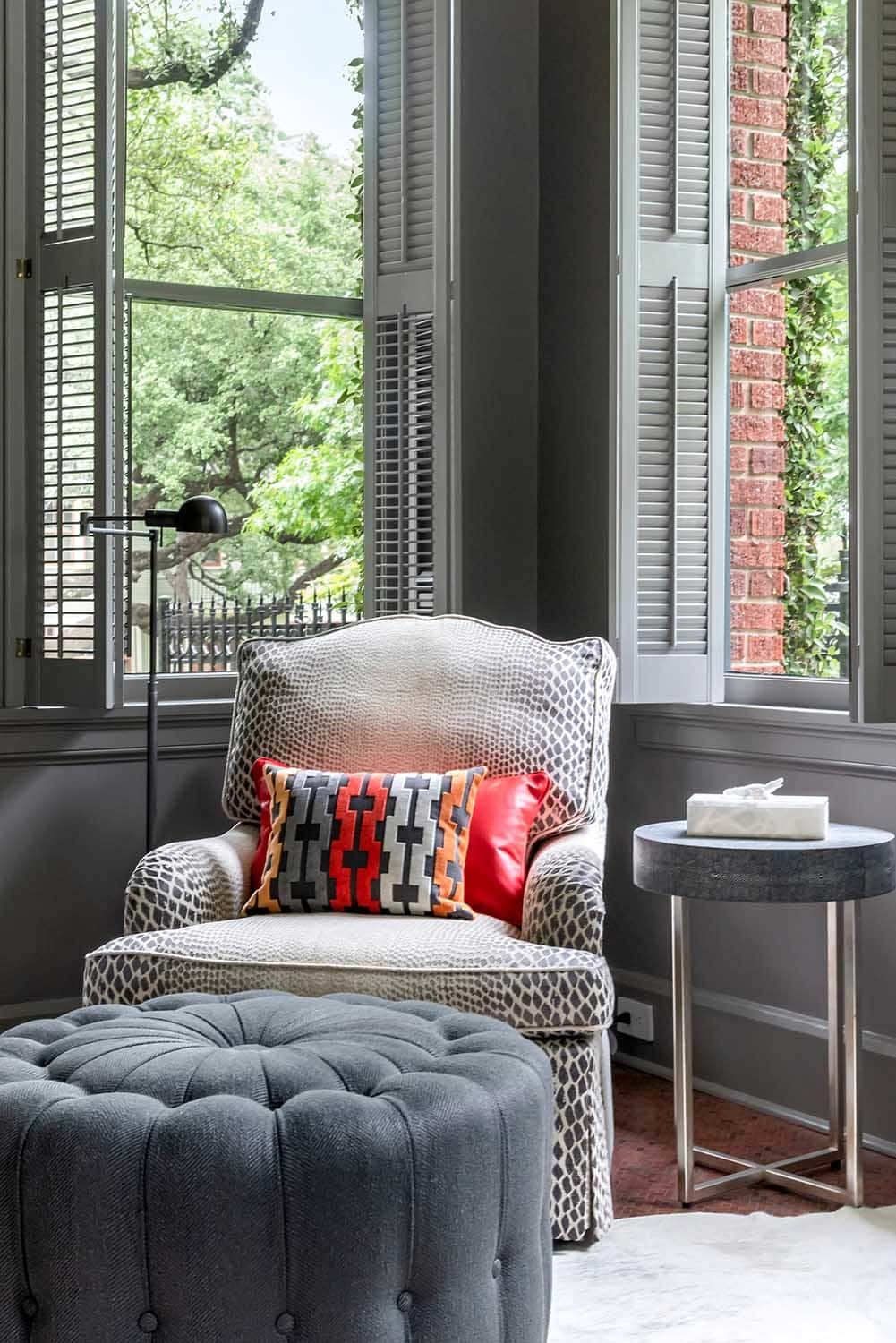 Cozy reading corner, grey gray walls and woodwork, Paper Moon Painting, Alamo Heights interior painter