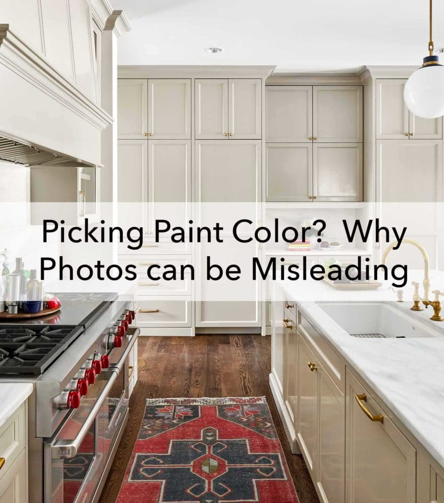 Picking Paint Color blog - Grey kitchen cabinets in Sherwin Williams Amazing Gray by Paper Moon Painting