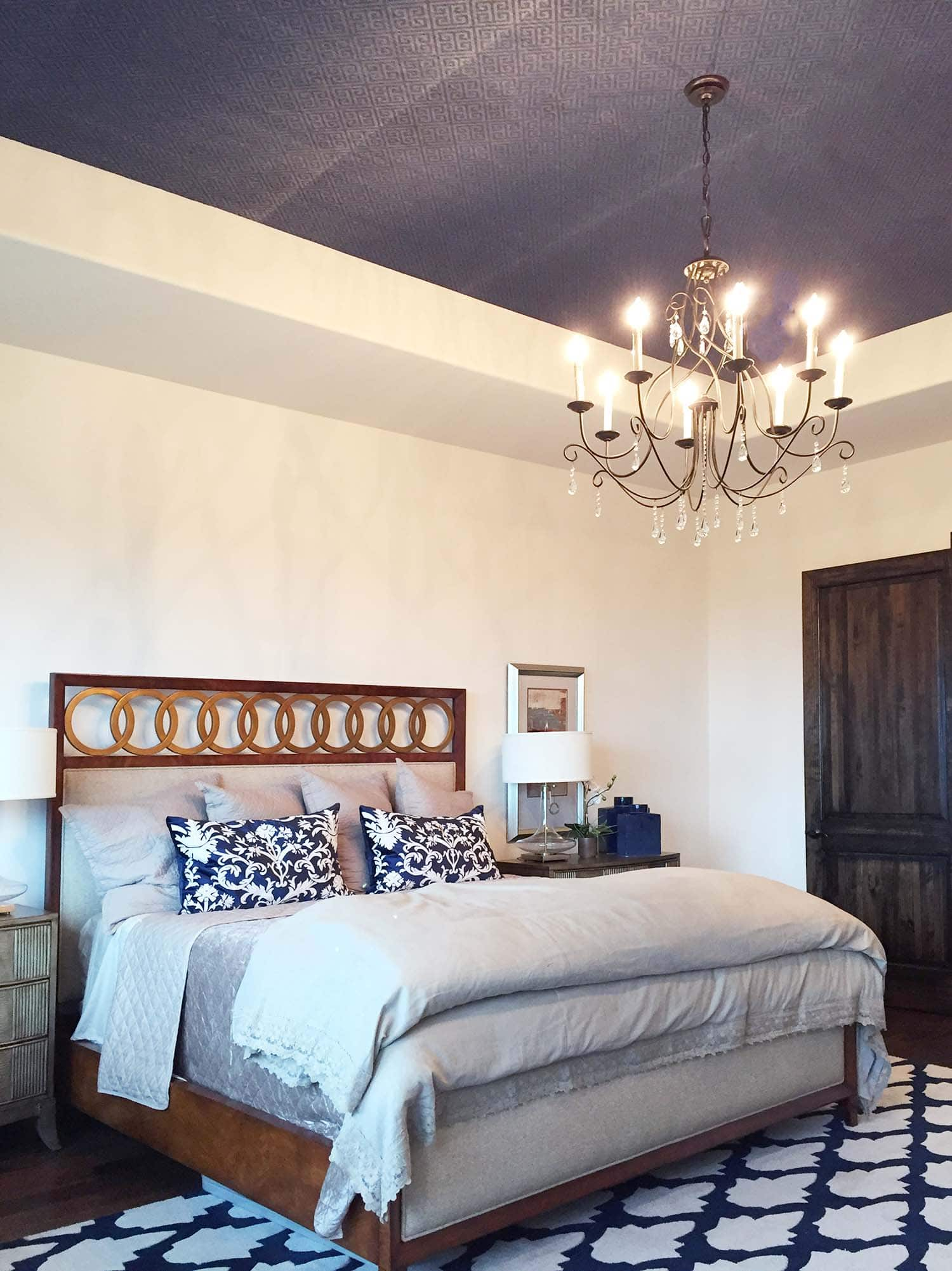 Accent ceiling with blue grasscloth wallpaper install by Paper Moon Painting