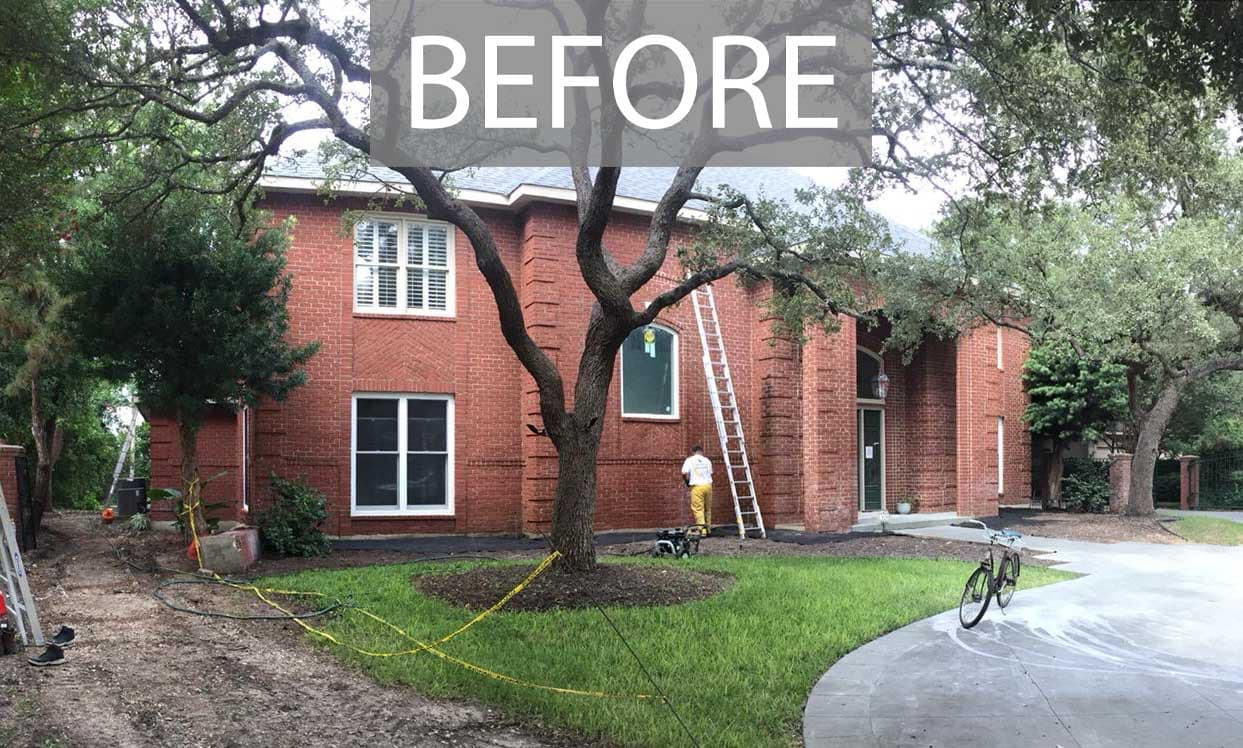 Red brick home exterior BEFORE being painted in Sherwin Williams 7005 Pure White, Alamo Heights TX