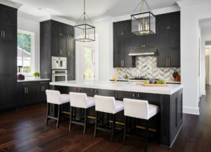 Black kitchen cabinets in Benjamin Moore Midnight Oil with cerused finish, Alamo Heights TX cabinet painter