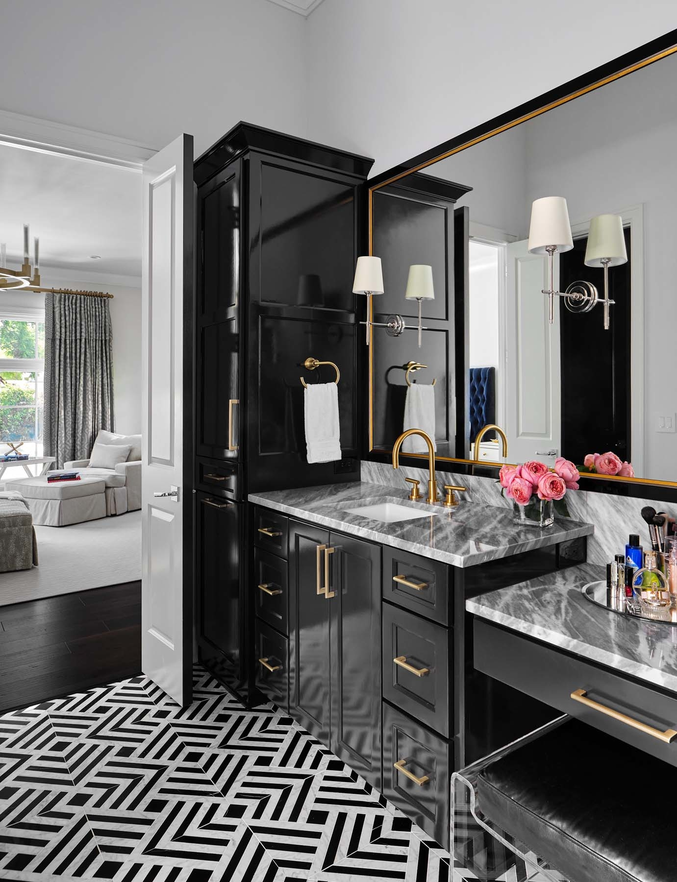 Luxurious master bath, cabinets painted in SW 6258 Tricorn Black, high gloss, Alamo Heights TX home painting