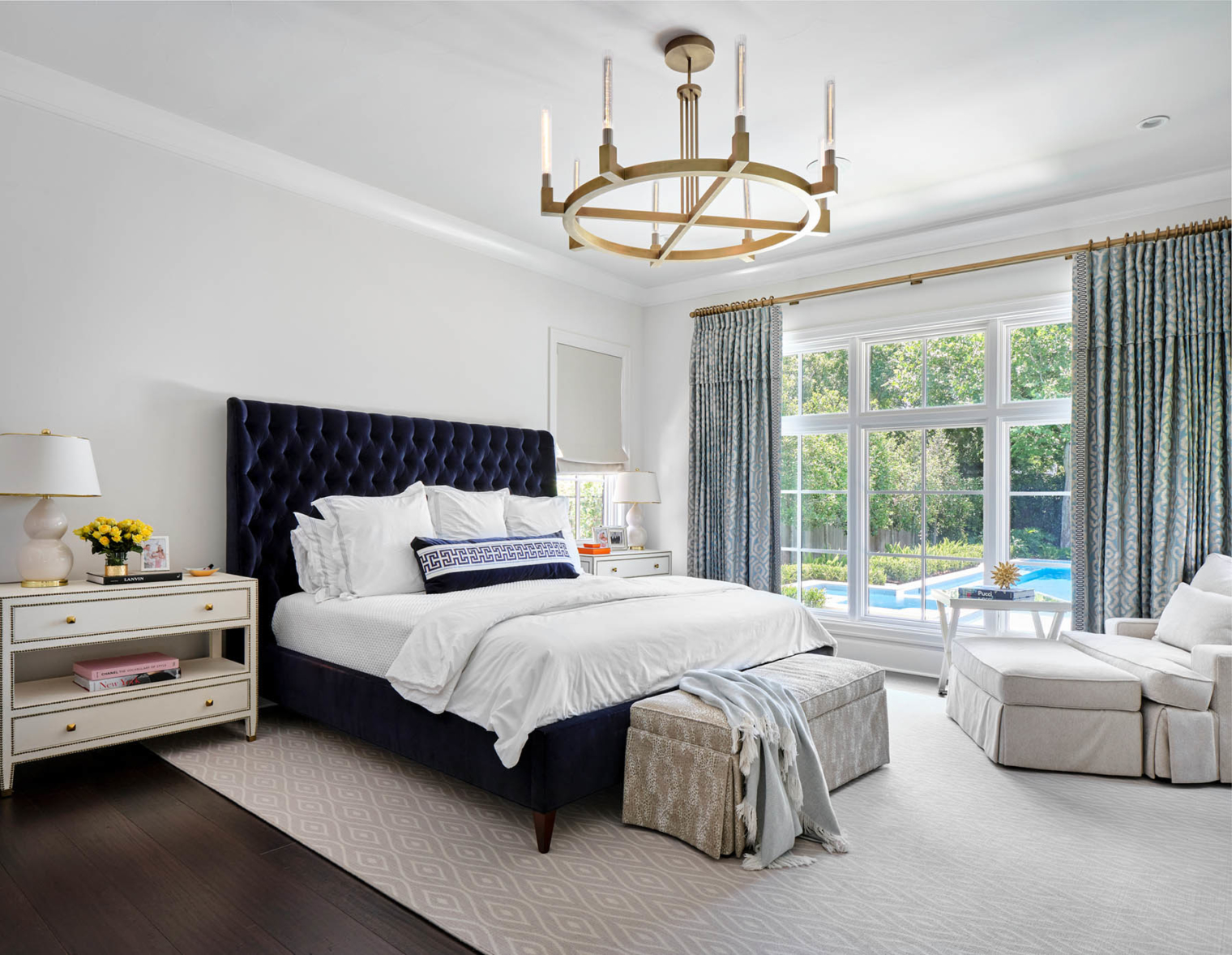 Master bedroom in Sherwin Williams 7005 Pure White, Alamo Heights TX home painting