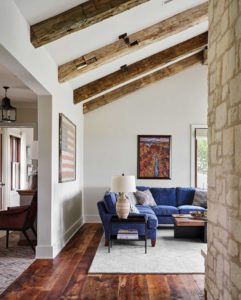 Hill Country Texas ranch home with walls painted in Benjamin Moore Wind's Breath, Paper Moon Painting, San Antonio, living room