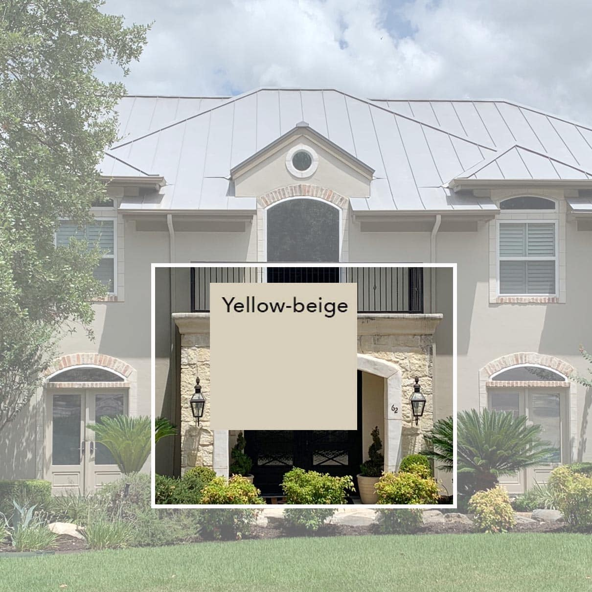 House exterior paint in HGSW3447 Sackcloth, Paper Moon Painting, yellow-beige on stone