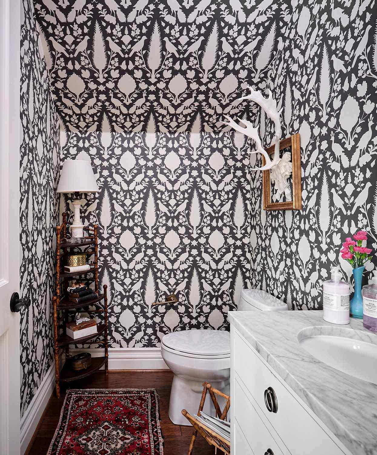 Black and white fabric-inspired graphic wallpaper in powder bath, Paper Moon Painting wallcovering installer, San Antonio TX