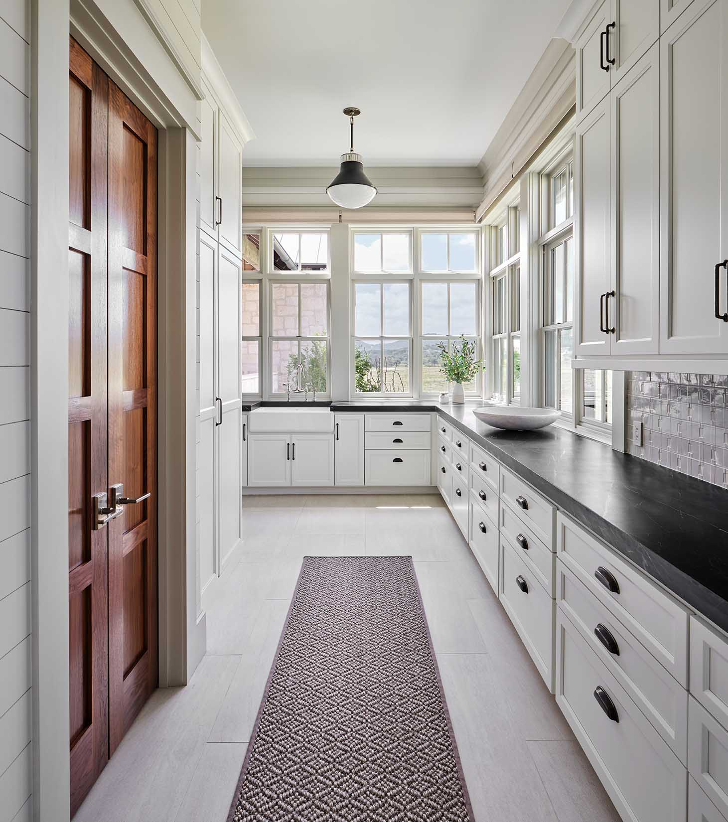 White kitchen in ranch house, with penny gap shiplap, Benjamin Moore OC-46 Halo